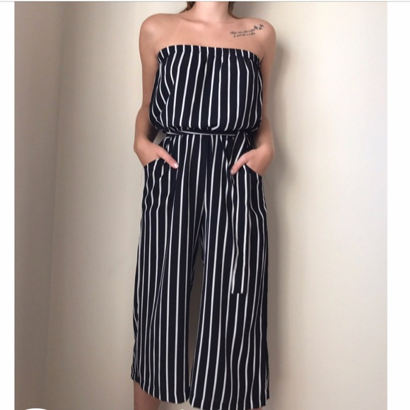 ae963b261a2c Ambiance Pants - Black and White Stripped Jumpsuit